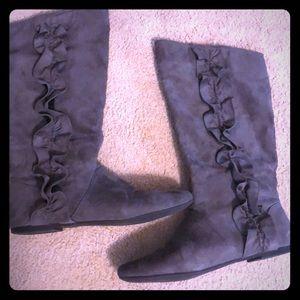 Shoes - Women's mid calf ruffled boots